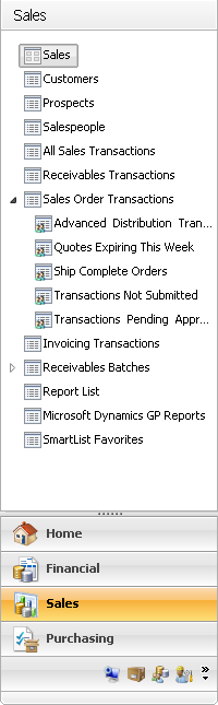 Chapter 3: Navigation Use the navigation pane to move within Microsoft Dynamics GP windows. You can customize the navigation pane to best suit your needs.