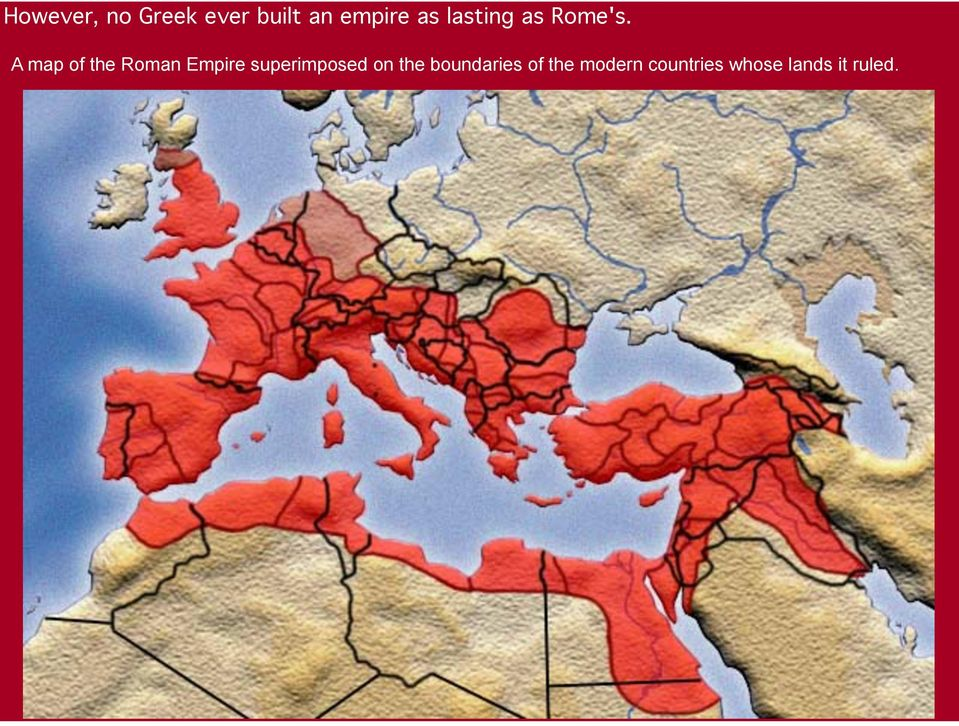 A map of the Roman Empire superimposed