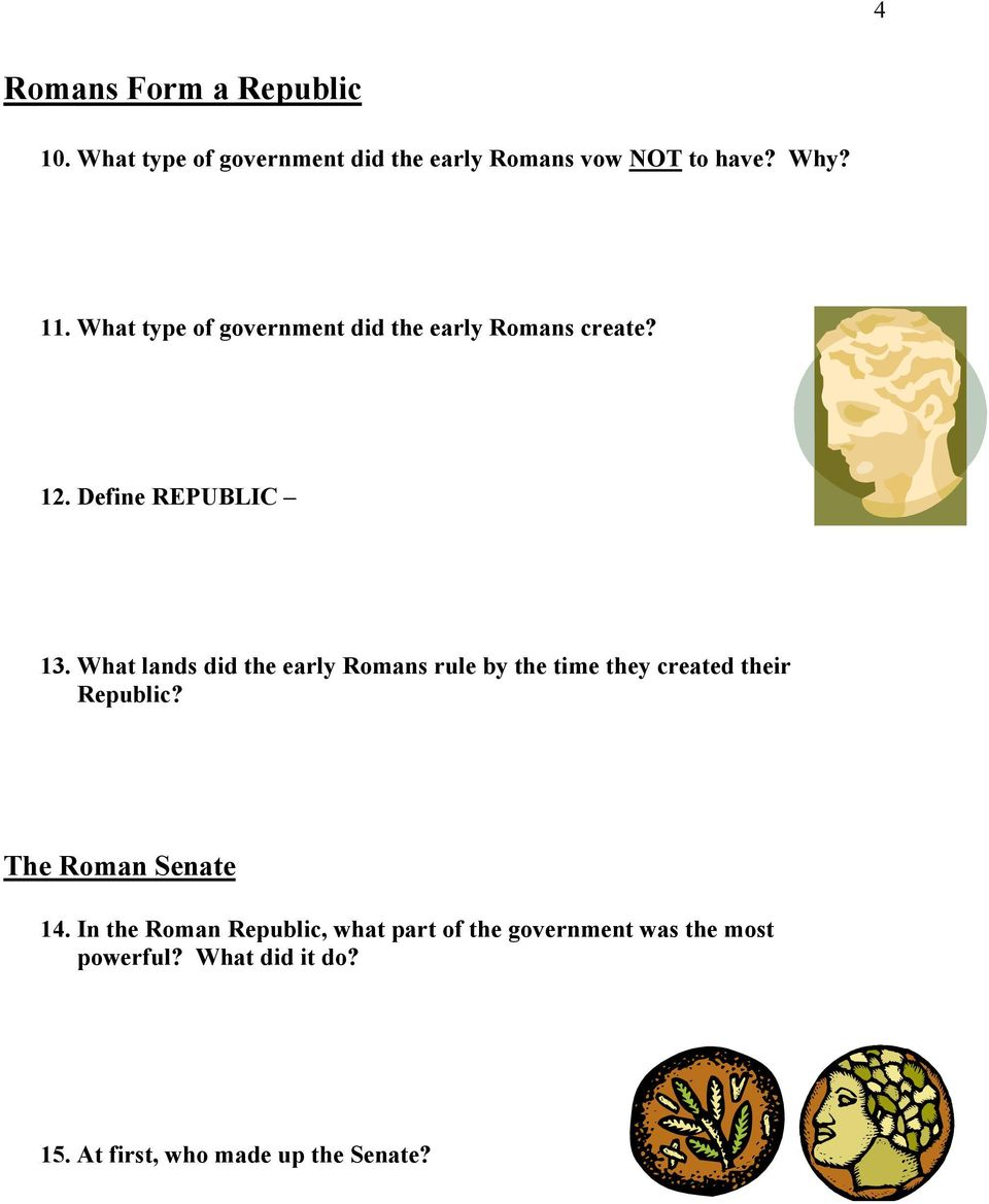 What lands did the early Romans rule by the time they created their Republic? The Roman Senate 14.