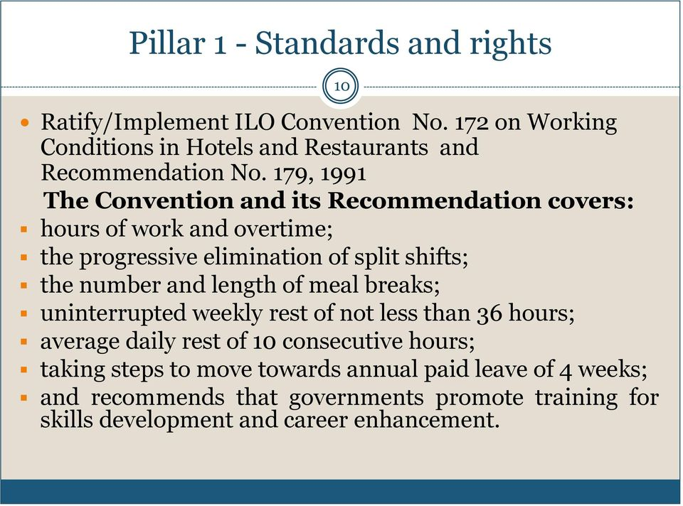 179, 1991 The Convention and its Recommendation covers: hours of work and overtime; the progressive elimination of split shifts; the number