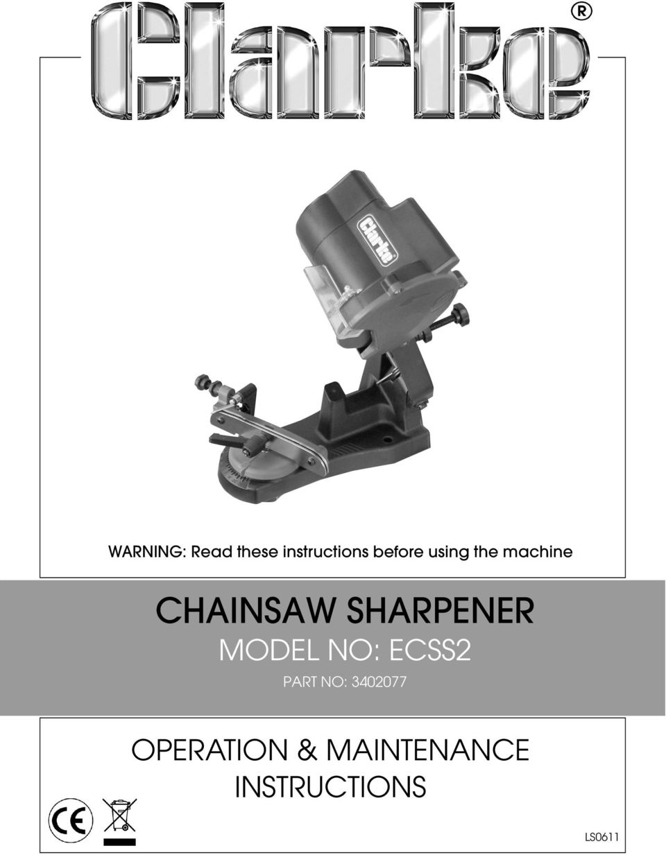 SHARPENER MODEL NO: ECSS2 PART NO: