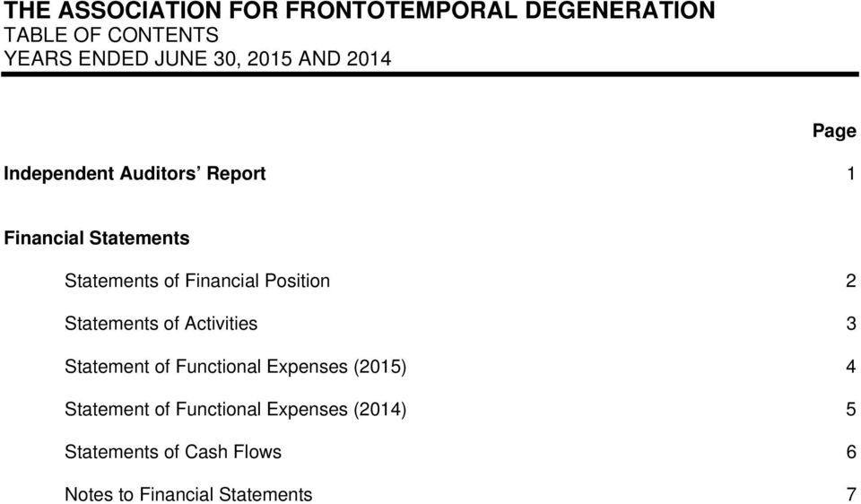 Activities 3 Statement of Functional Expenses (2015) 4 Statement of Functional