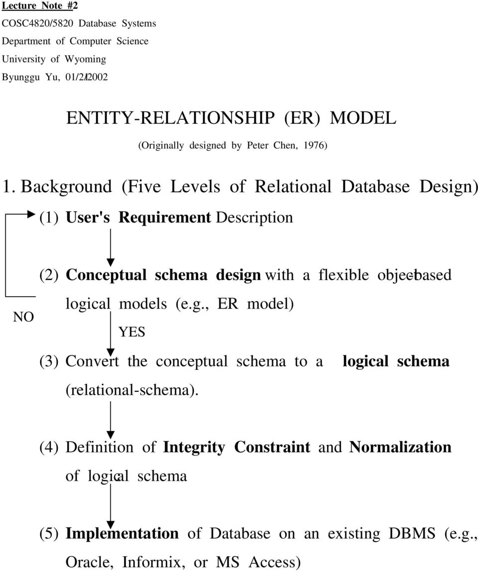 Background (Five Levels of Relational Database Design) (1) User's Requirement Description (2) Conceptual schema design with a flexible object -based logical