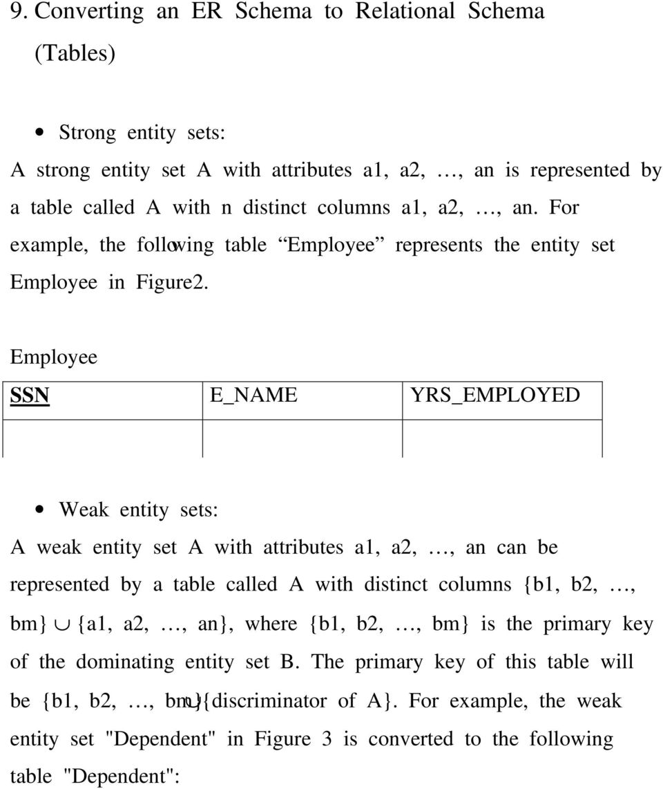 Employee SSN E_NAME YRS_EMPLOYED Weak entity sets: A weak entity set A with attributes a1, a2,, an can be represented by a table called A with distinct columns {b1, b2,, bm} {a1,