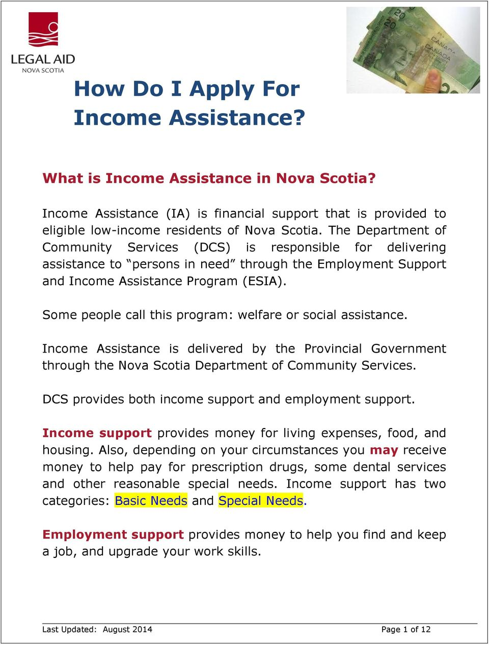 Some people call this program: welfare or social assistance. Income Assistance is delivered by the Provincial Government through the Nova Scotia Department of Community Services.