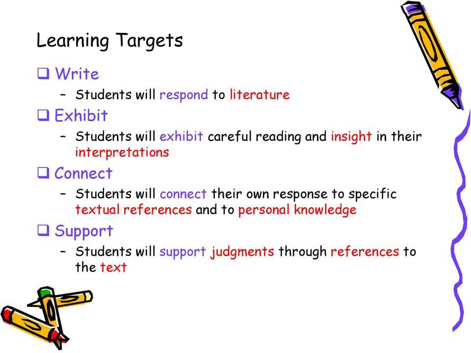 Students will connect their own response to specific textual references and to