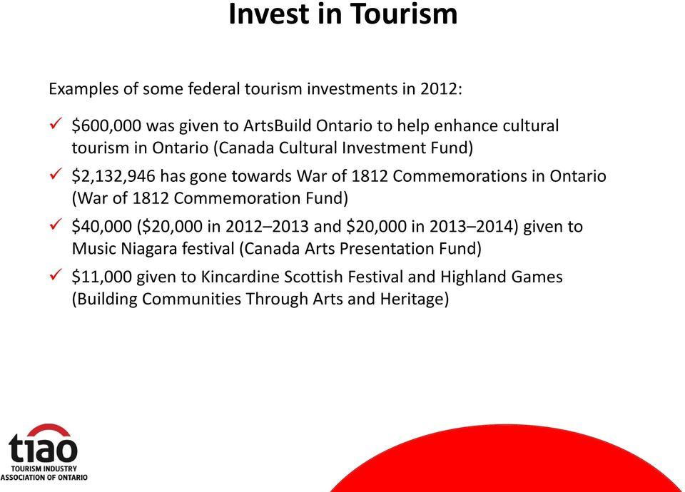 (War of 1812 Commemoration Fund) $40,000 ($20,000 in 2012 2013 and $20,000 in 2013 2014) given to Music Niagara festival (Canada