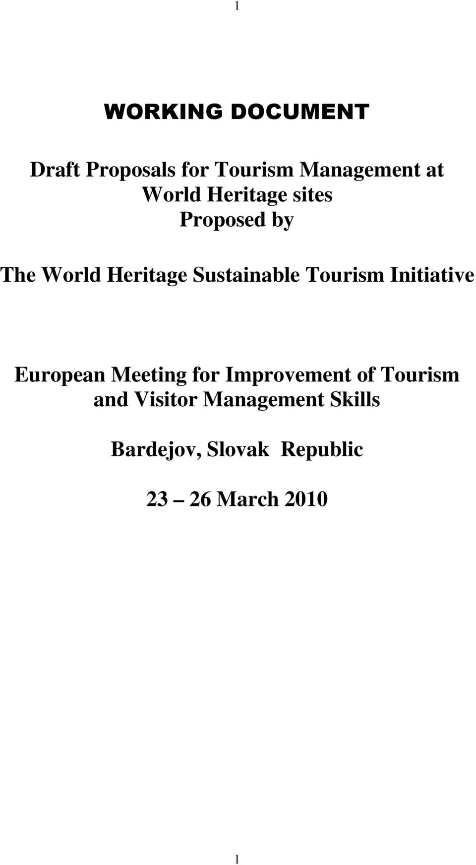 Tourism Initiative European Meeting for Improvement of Tourism
