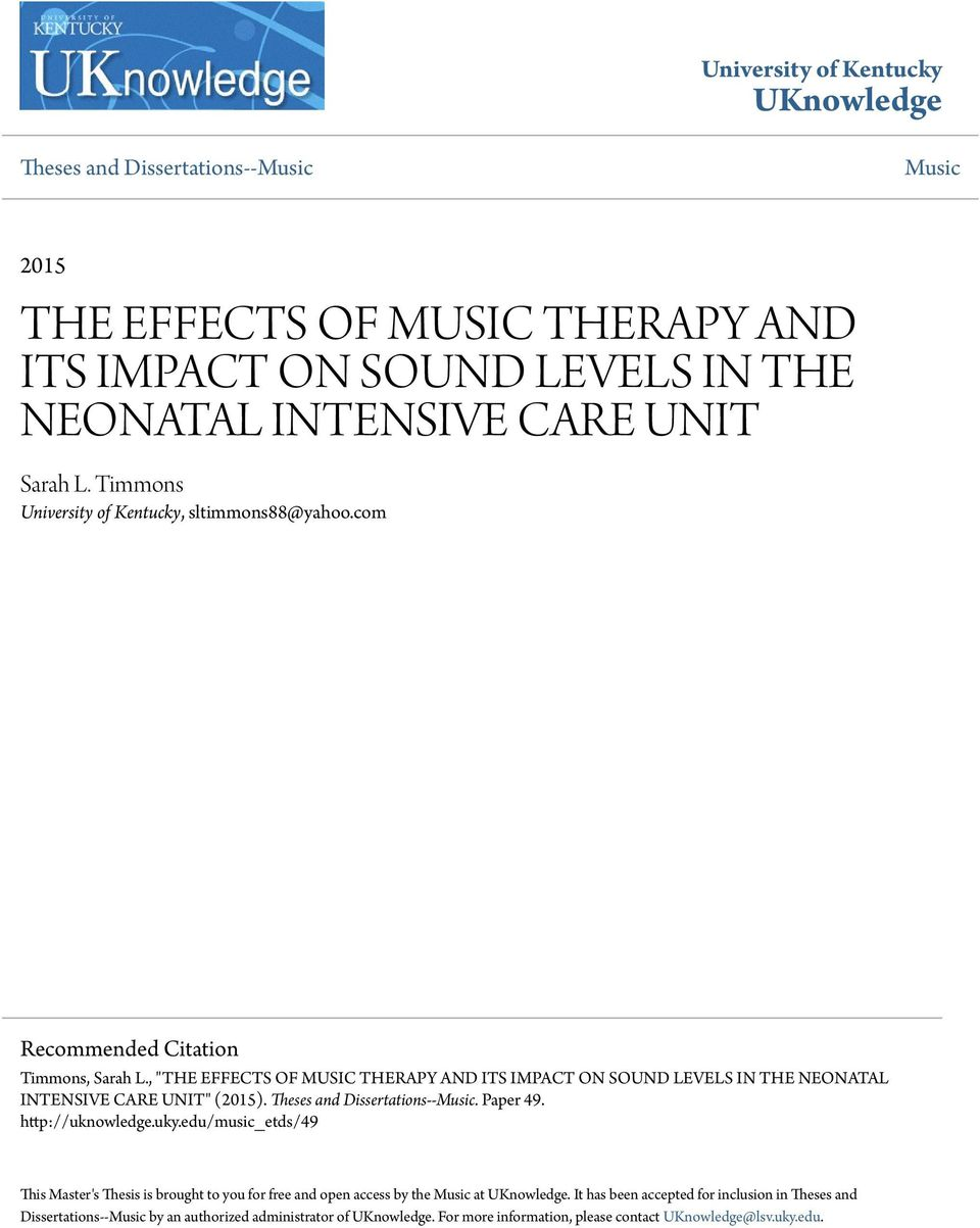 thesis for music therapy Rather than having music therapy as a the focus is on honing writing skills toward the development of skills necessary for successful completion of a thesis.