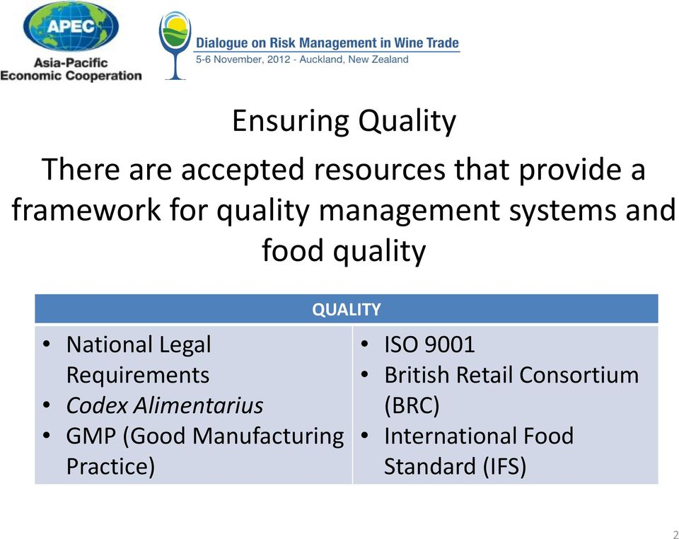 Requirements Codex Alimentarius GMP (Good Manufacturing Practice)