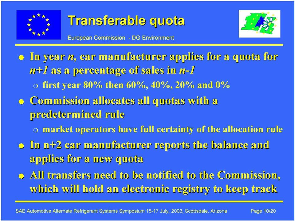 car manufacturer reports the balance and applies for a new quota All transfers need to be notified to the Commission, which will hold an