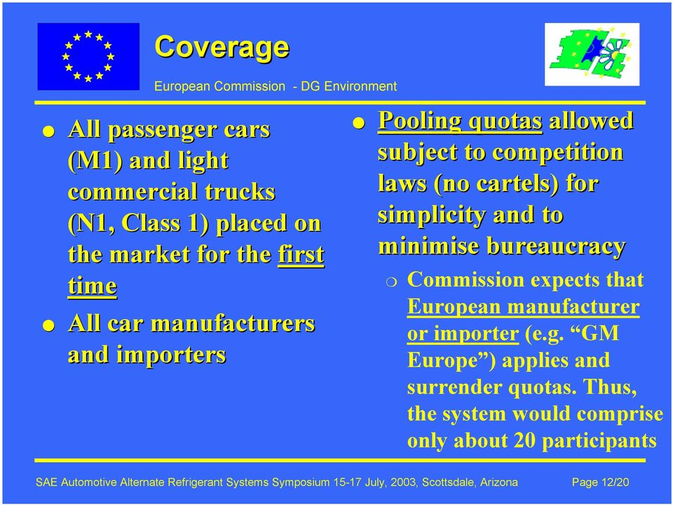 bureaucracy Commission expects that European manufacturer or importer (e.g. GM Europe ) applies and surrender quotas.