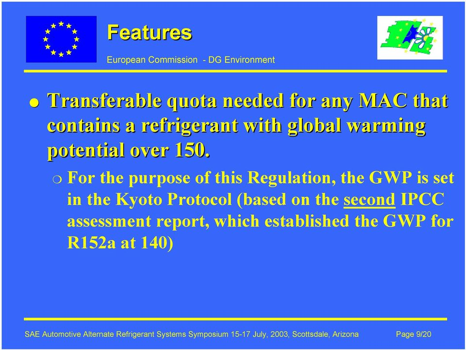 For the purpose of this Regulation, the GWP is set in the Kyoto Protocol (based on the second