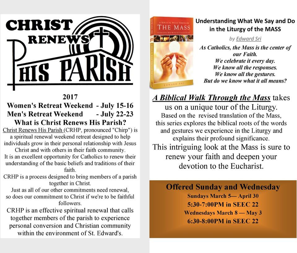 "Christ Renews His Parish (CRHP, pronounced ""Chirp"") is a spiritual renewal weekend retreat designed to help individuals grow in their personal relationship with Jesus Christ and with others in their"