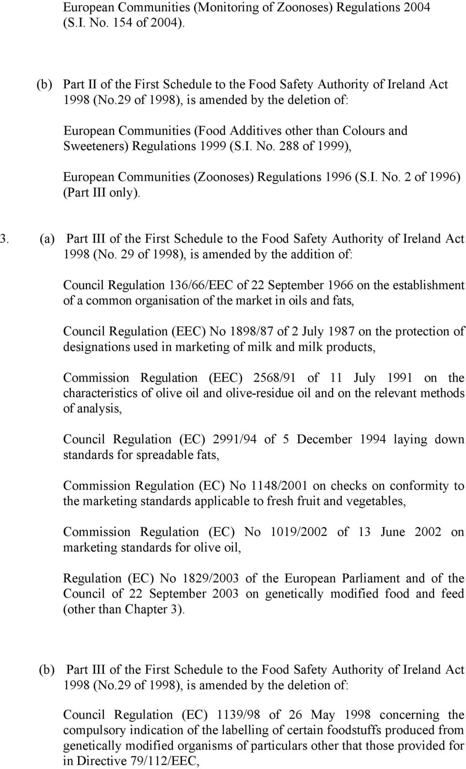 288 of 1999), European Communities (Zoonoses) Regulations 1996 (S.I. No. 2 of 1996) (Part III only). 3. (a) Part III of the First Schedule to the Food Safety Authority of Ireland Act 1998 (No.