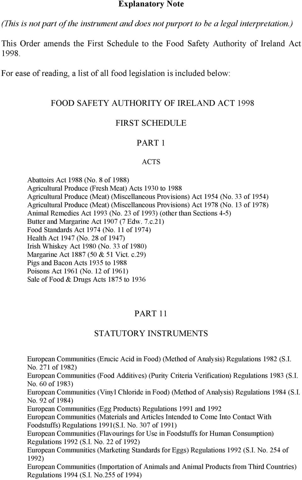 8 of 1988) Agricultural Produce (Fresh Meat) Acts 1930 to 1988 Agricultural Produce (Meat) (Miscellaneous Provisions) Act 1954 (No.