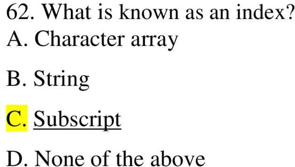 Character array B.