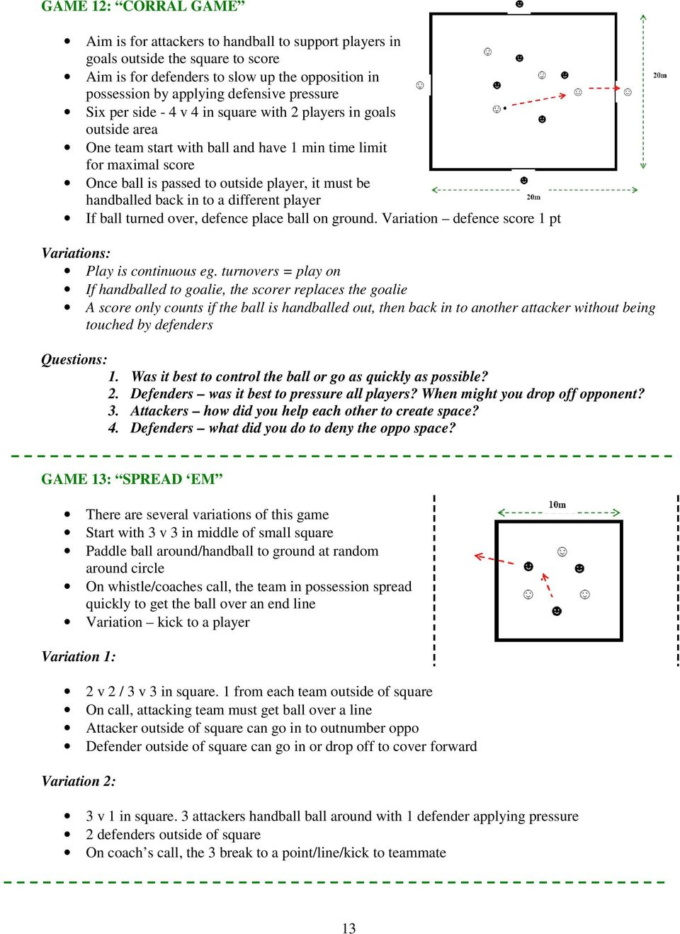 handballed back in to a different player If ball turned over, defence place ball on ground. Variation defence score 1 pt Variations: Play is continuous eg.