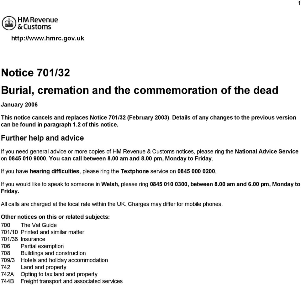 Notice 701/32 burial, cremation and the commemoration of the dead.