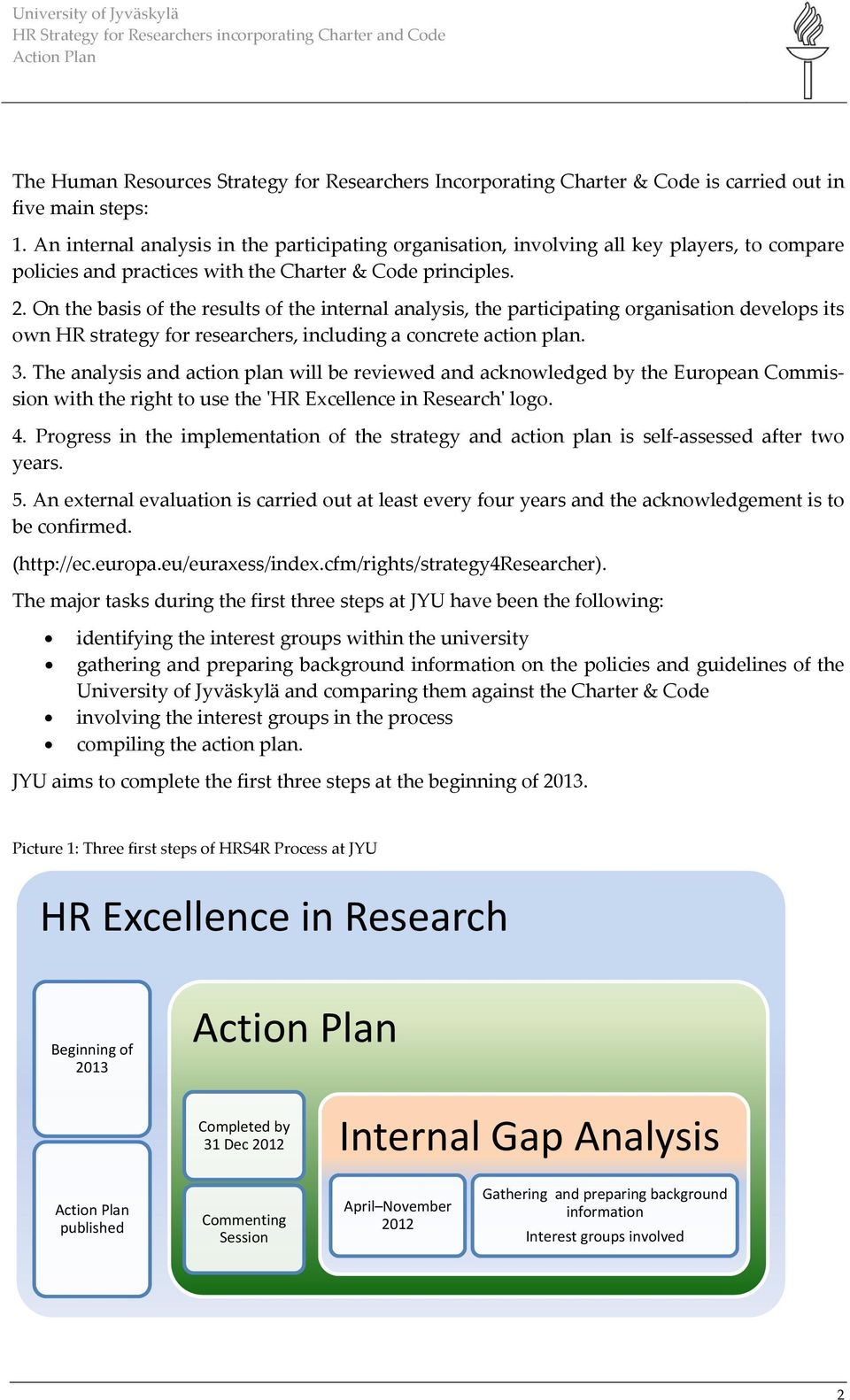 On the basis of the results of the internal analysis, the participating organisation develops its own HR strategy for researchers, including a concrete action plan. 3.