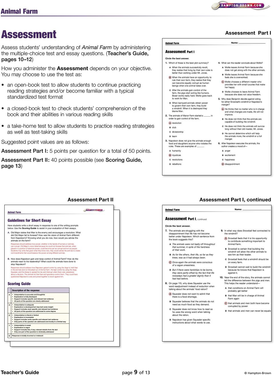 check students comprehension of the book and their abilities in various reading skills a take-home test to allow students to practice reading strategies as well as test-taking skills Suggested point