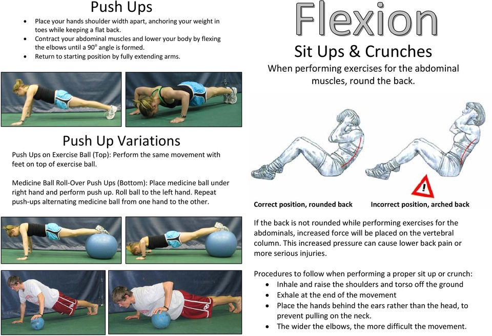 Sit Ups & Crunches When performing exercises for the abdominal muscles, round the back. Push Up Variations Push Ups on Exercise Ball (Top): Perform the same movement with feet on top of exercise ball.