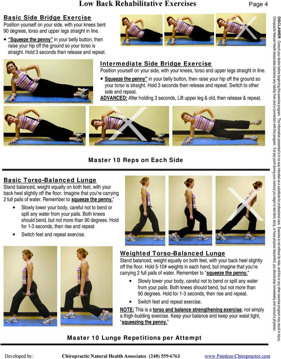 Intermediate Side Bridge Exercise Position yourself on your side, with your knees, torso and upper legs straight in line.  Switch to other side and repeat.