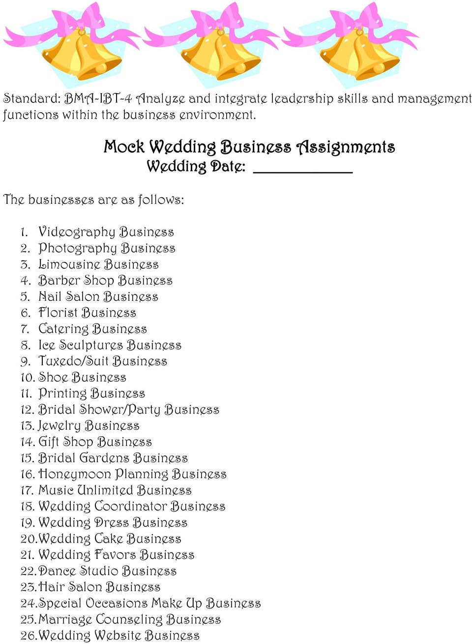Tuxedo/Suit Business 10. Shoe Business 11. Printing Business 12. Bridal Shower/Party Business 13. Jewelry Business 14. Gift Shop Business 15. Bridal Gardens Business 16.