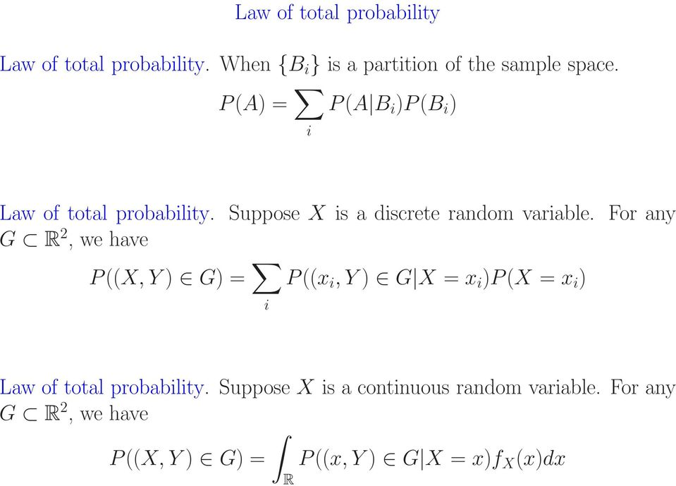For any G R 2, we have P ((X, Y ) G) = i P ((x i, Y ) G X = x i )P (X = x i ) Law of total probability.