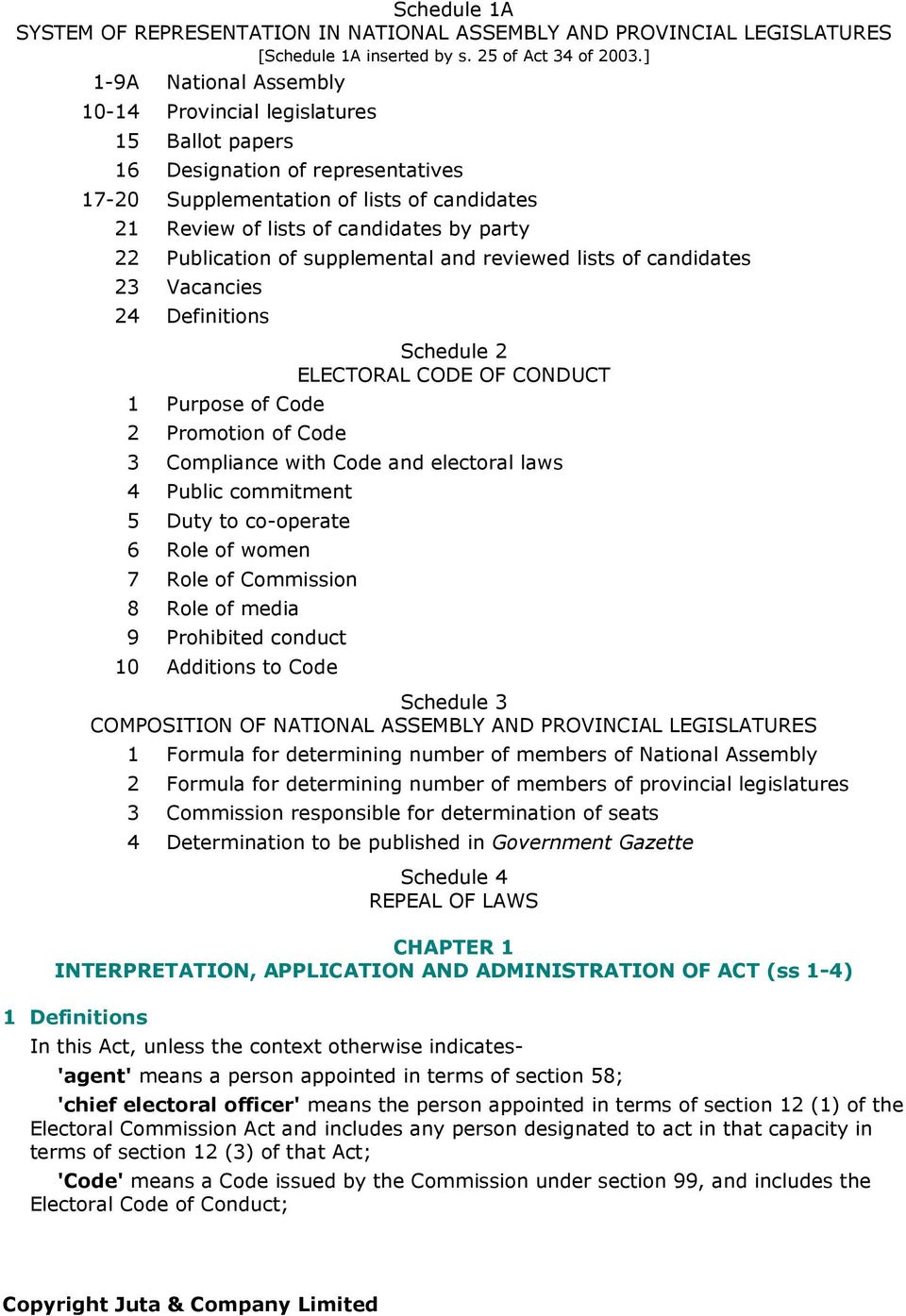 Publication of supplemental and reviewed lists of candidates 23 Vacancies 24 Definitions 1 Purpose of Code 2 Promotion of Code Schedule 2 ELECTORAL CODE OF CONDUCT 3 Compliance with Code and