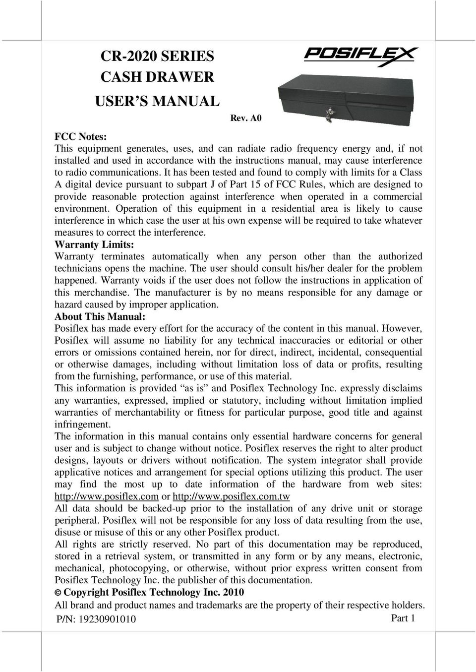 CR-2020 SERIES CASH DRAWER USER S MANUAL Rev  A0 - PDF