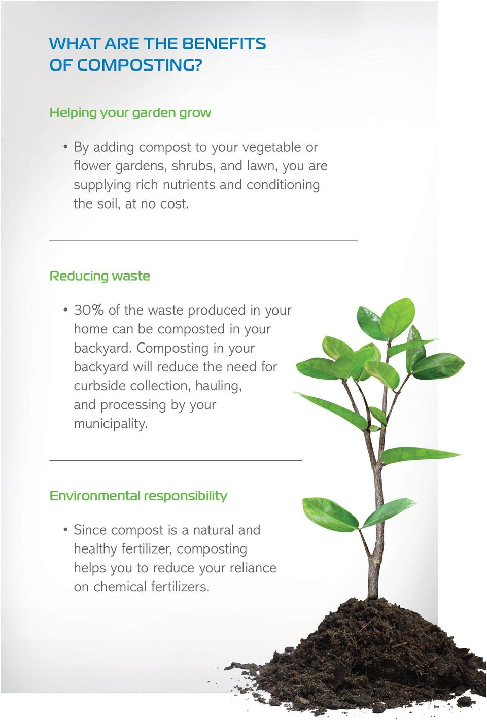 conditioning the soil, at no cost. Reducing waste 30% of the waste produced in your home can be composted in your backyard.