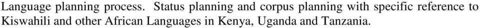 with specific reference to Kiswahili