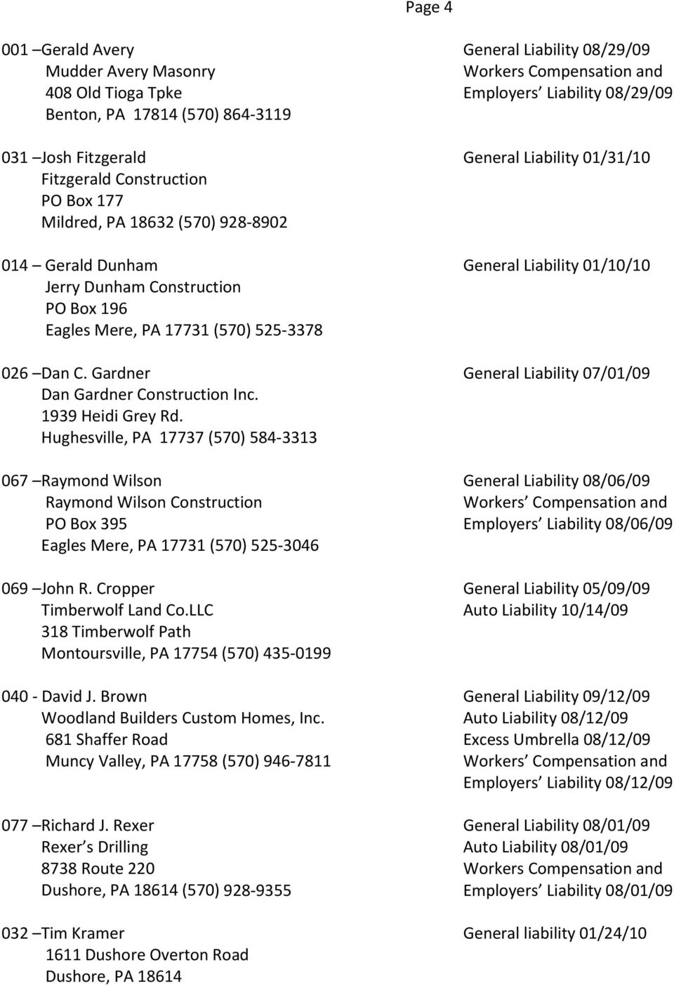 Gardner General Liability 07/01/09 Dan Gardner Construction Inc. 1939 Heidi Grey Rd.