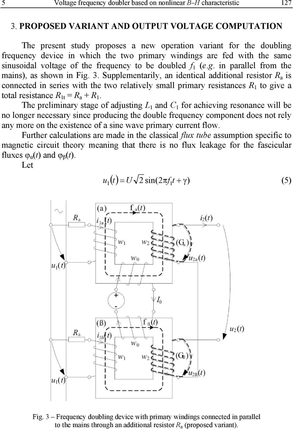 Study Of The Voltage Frequency Doubler With Nonlinear Iron Core A Effect For Electric Guitar To Be Doubled F 1 Eg In Parallel From Mains