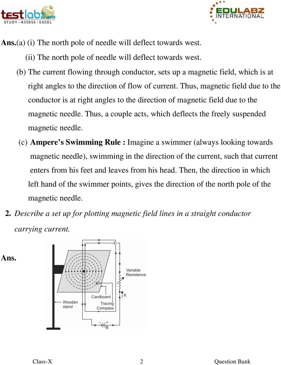 Thus, magnetic field due to the conductor is at right angles to the direction of magnetic field due to the magnetic needle. Thus, a couple acts, which deflects the freely suspended magnetic needle.