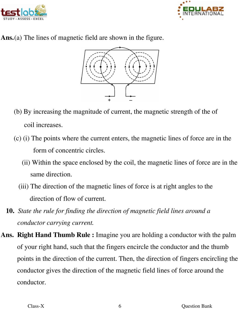 (ii) Within the space enclosed by the coil, the magnetic lines of force are in the same direction.