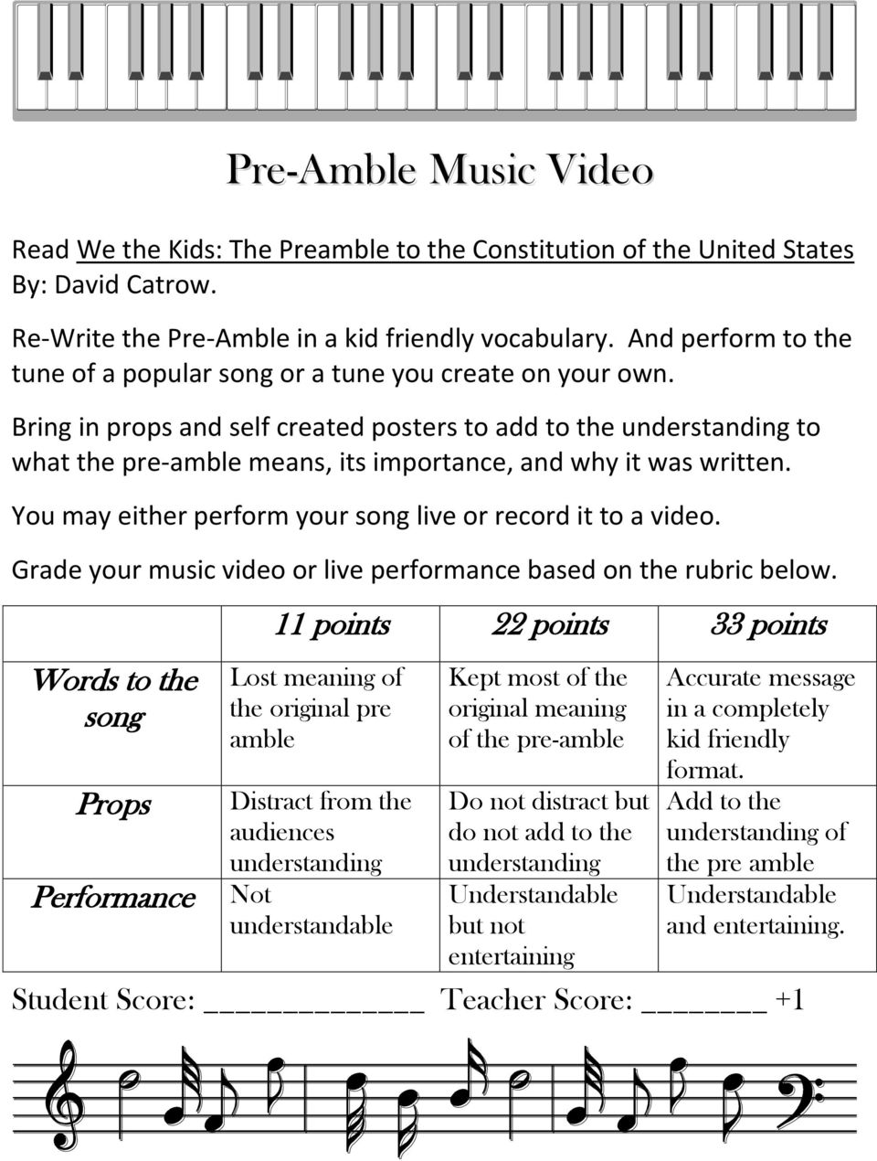 Bring in props and self created posters to add to the understanding to what the pre-amble means, its importance, and why it was written. You may either perform your song live or record it to a video.