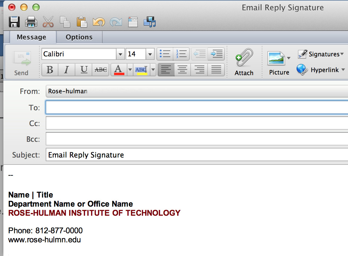 Featured to the right is the standard e-mail signature and a standard reply e-mail signature. The reply signature includes minimal information and is used when the full address is not needed.