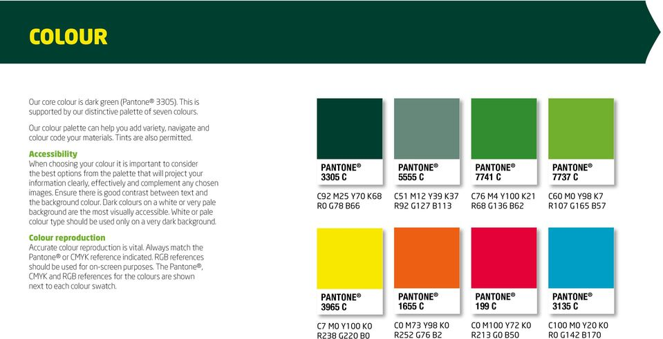 Accessibility When choosing your colour it is important to consider the best options from the palette that will project your information clearly, effectively and complement any chosen images.