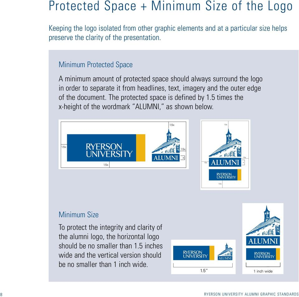The protected space is defined by 1.5 times the x-height of the wordmark Alumni, as shown below. 1.5x 1.5x 1.5x 1.5x x 1.