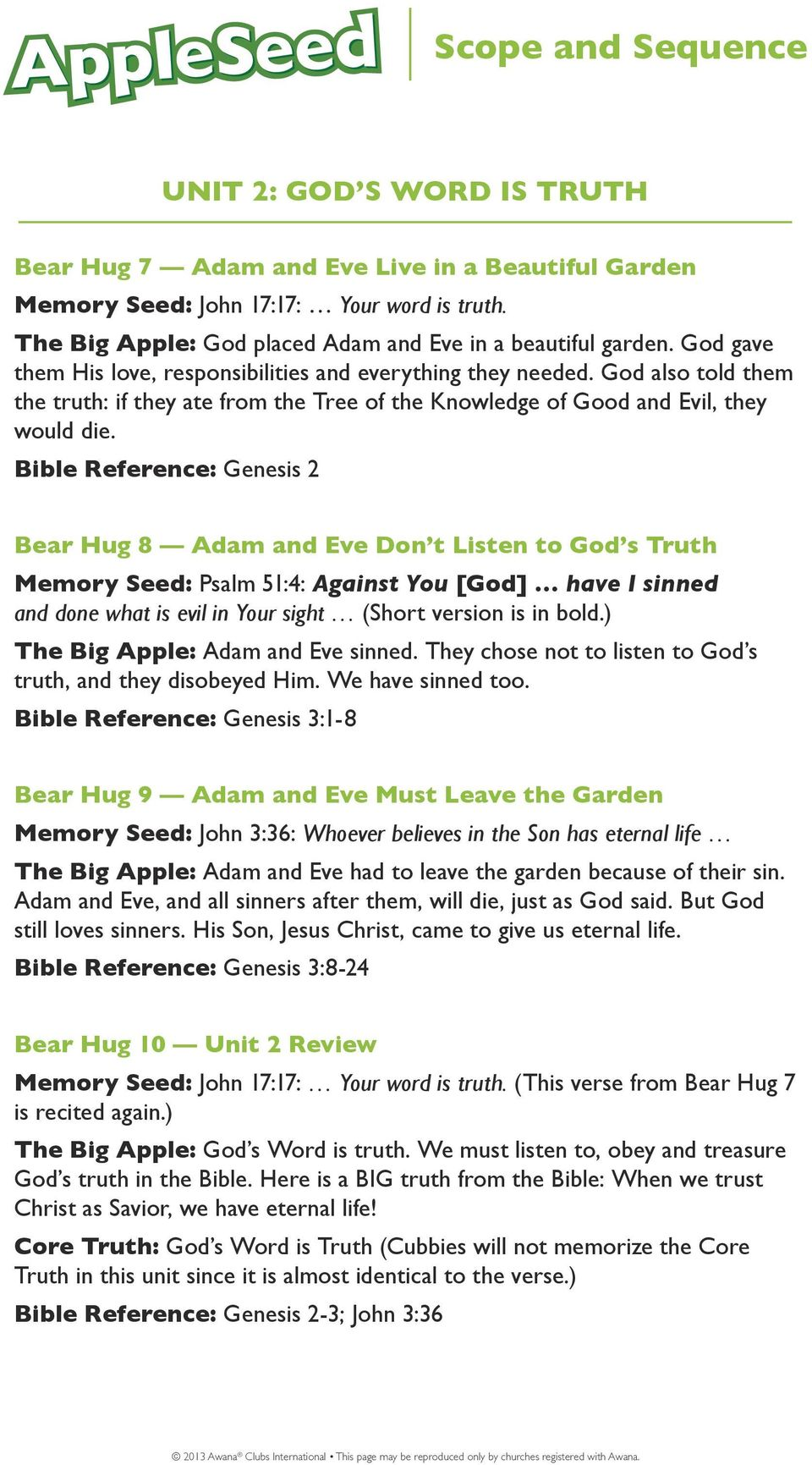 Bible Reference: Genesis 2 Bear Hug 8 Adam and Eve Don t Listen to God s Truth Memory Seed: Psalm 51:4: Against You [God] have I sinned and done what is evil in Your sight (Short version is in bold.