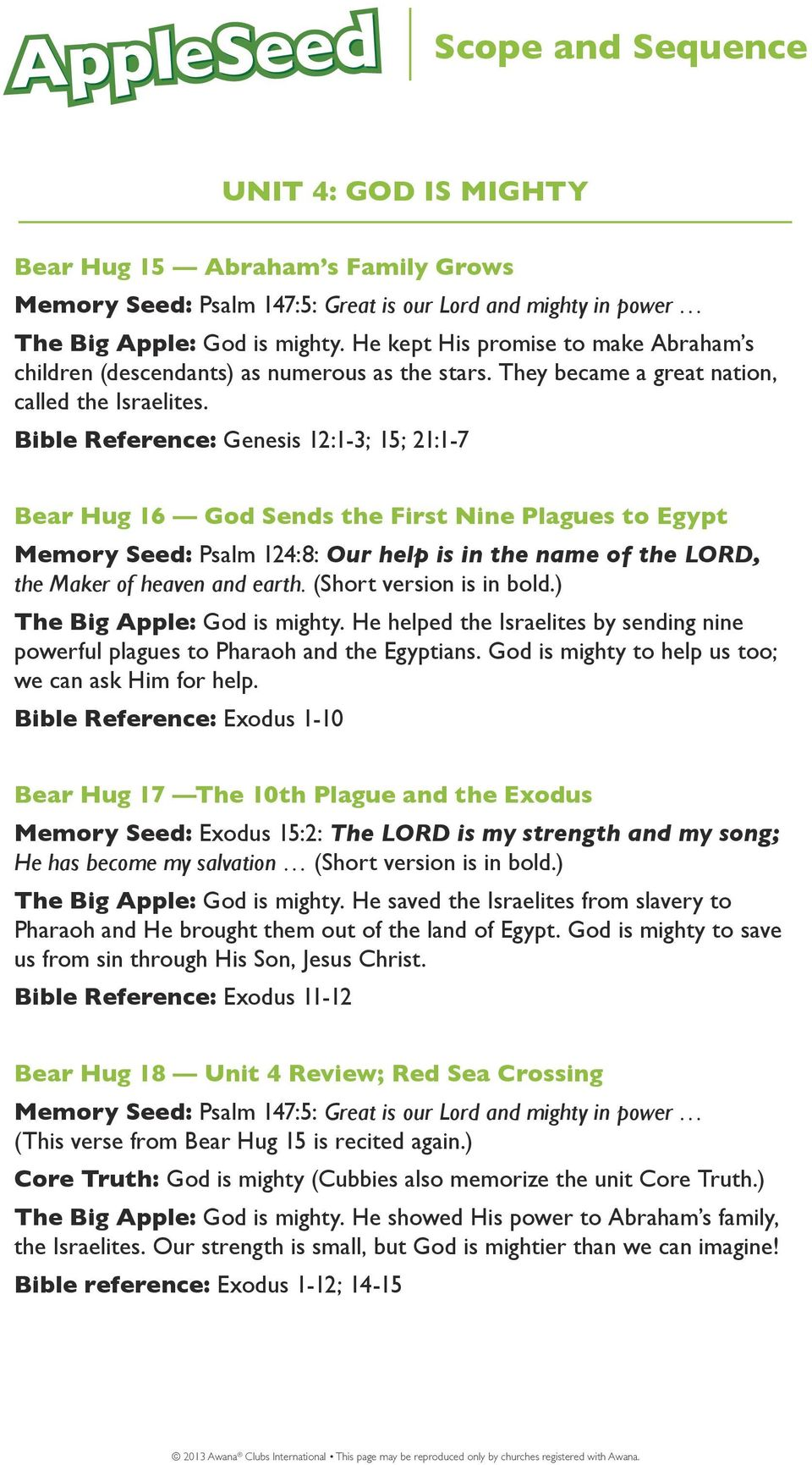 Bible Reference: Genesis 12:1-3; 15; 21:1-7 Bear Hug 16 God Sends the First Nine Plagues to Egypt Memory Seed: Psalm 124:8: Our help is in the name of the LORD, the Maker of heaven and earth.