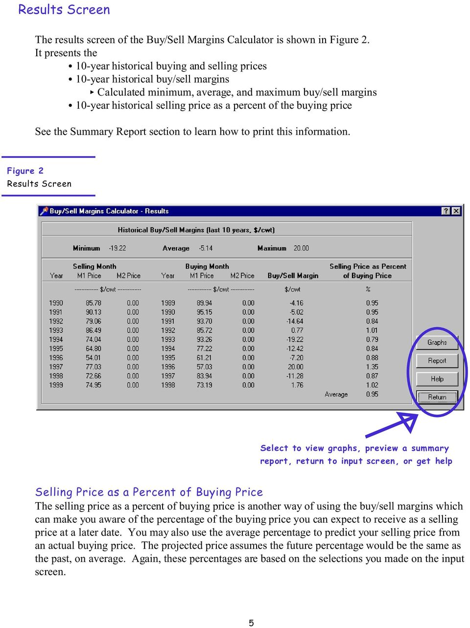 percent of the buying price See the Summary Report section to learn how to print this information.