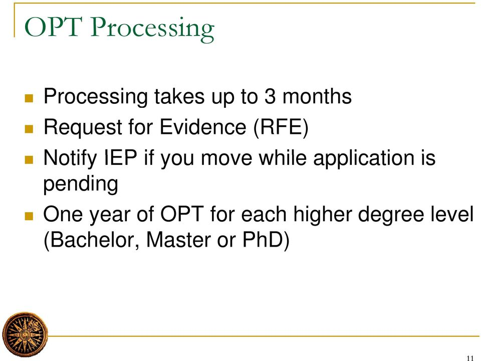 while application is pending One year of foptf for