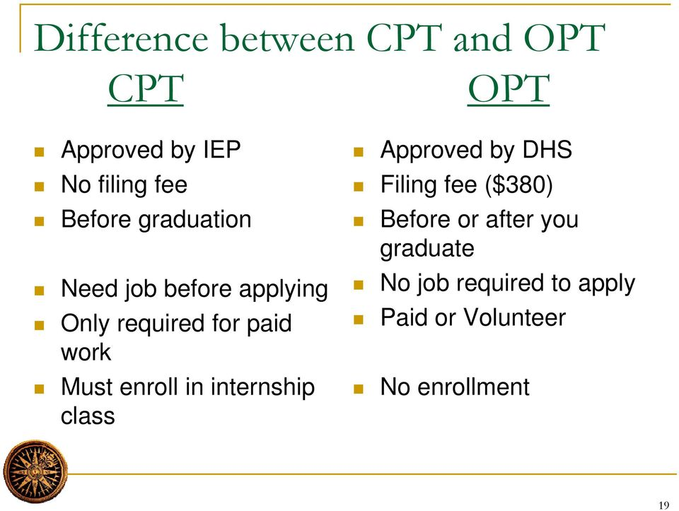 paid work Must enroll in internship class Filing fee ($380) Before or