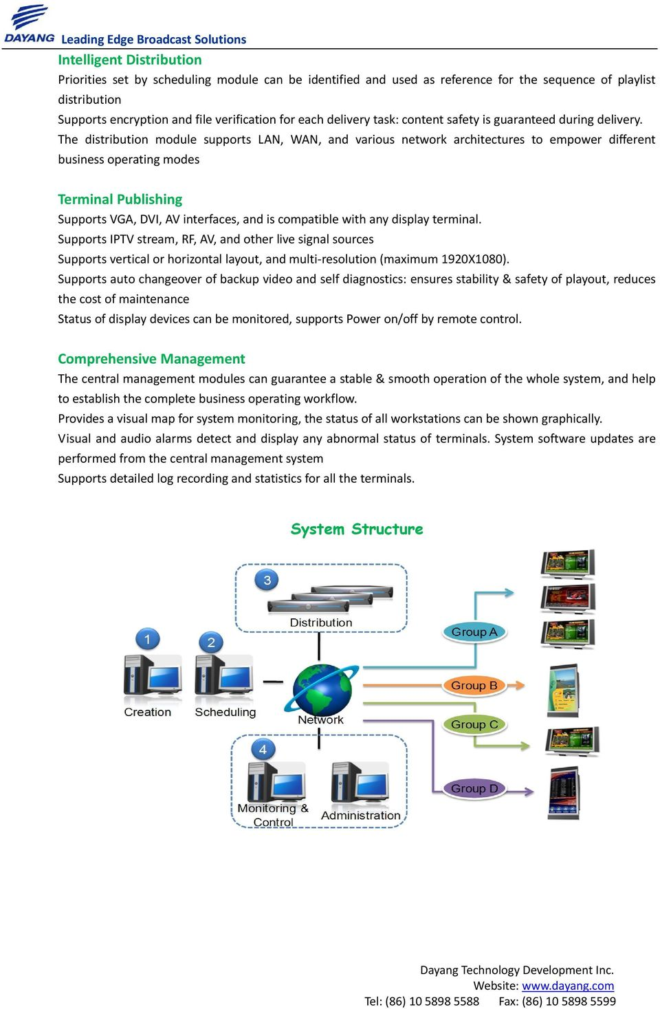 The distribution module supports LAN, WAN, and various network architectures to empower different business operating modes Terminal Publishing Supports VGA, DVI, AV interfaces, and is compatible with