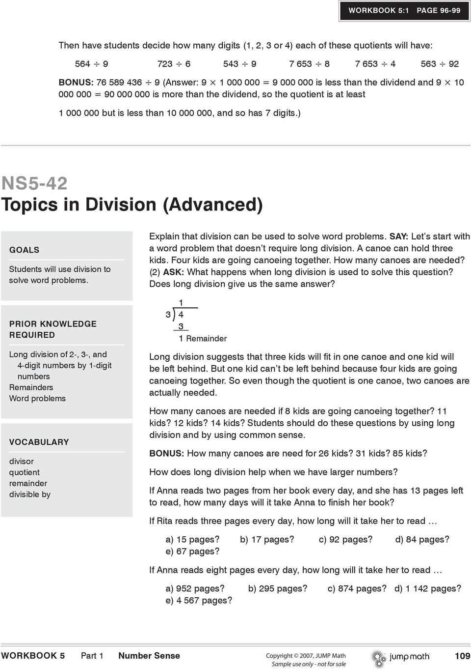 ) NS5-42 Topics in Division (Advanced) GOALS Students will use division to solve word problems.