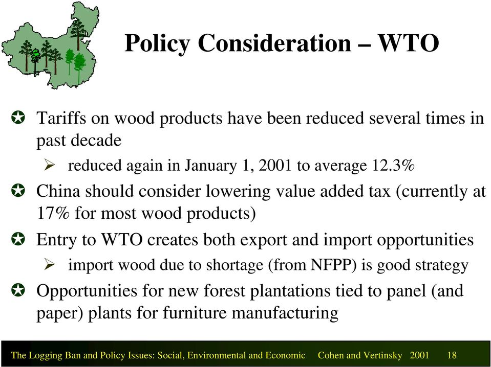 3% China should consider lowering value added tax (currently at 17% for most wood products) Entry to WTO creates both export and import