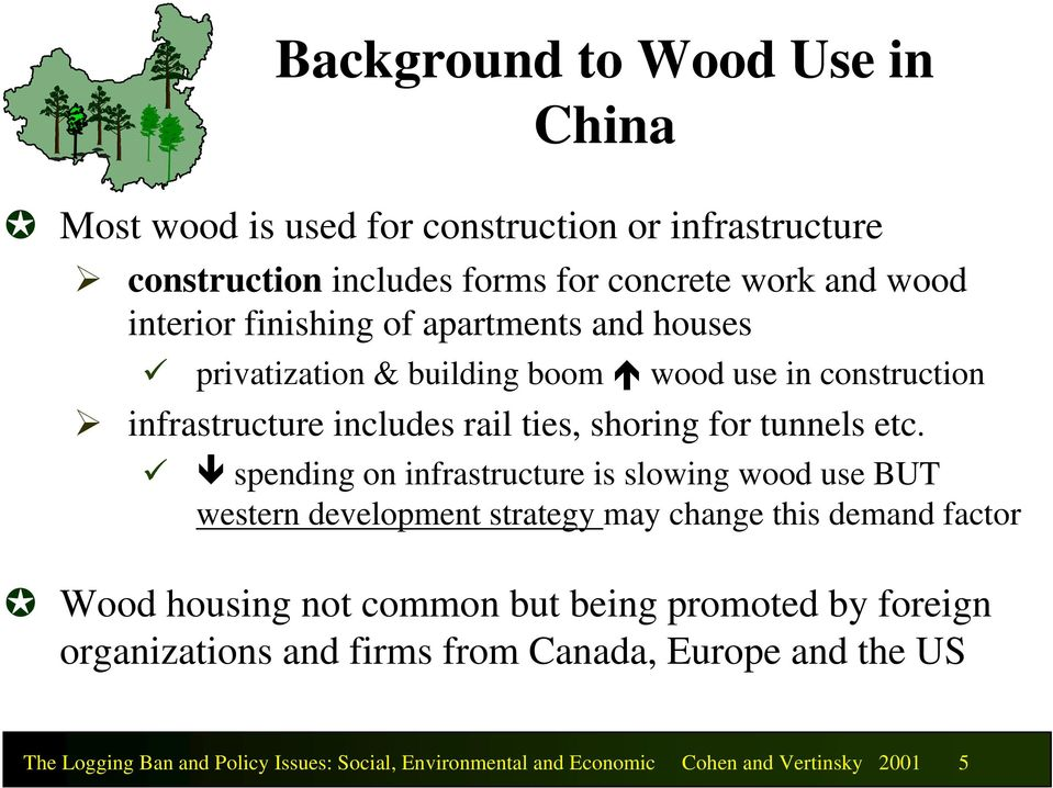 spending on infrastructure is slowing wood use BUT western development strategy may change this demand factor Wood housing not common but being promoted
